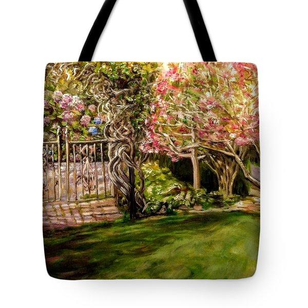 Garden Gate At Evergreen Arboretum Tote Bag