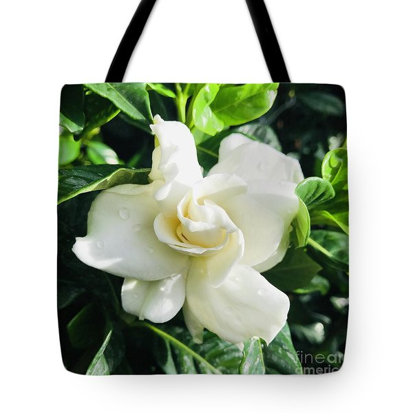 Gardenia Closeup Square Tote Bag