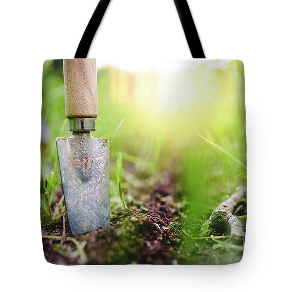 Gardening Shovel In An Orchard During The Gardener's Rest Tote Bag