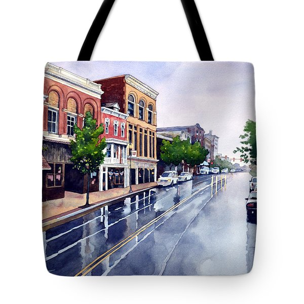Gaslights And Afternoon Rain Tote Bag