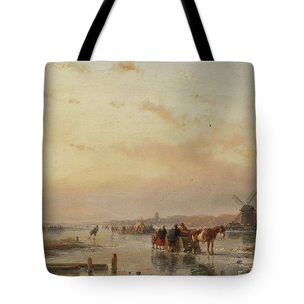 Gathered On The Ice At The End Of A Winter's Day Tote Bag