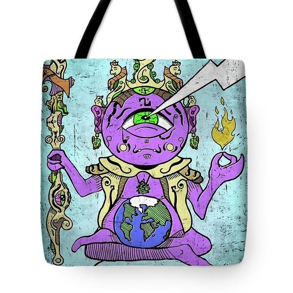 Tote Bag featuring the digital art Gautama Buddha Colour Illustration by Sotuland Art