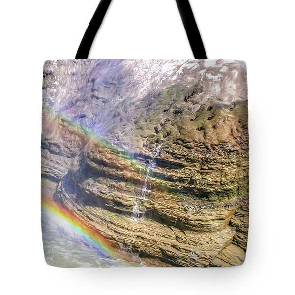 Genesee River With Rocks And Rainbow Tote Bag