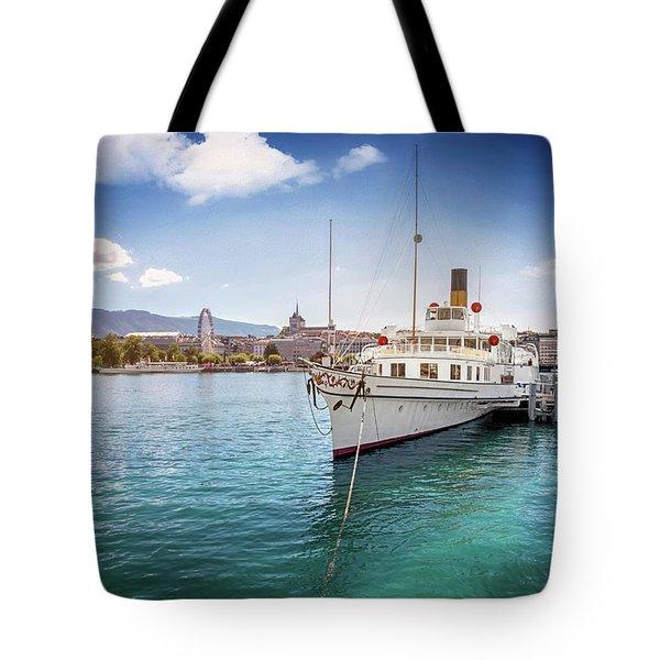 Geneva Switzerland Paddle Steamer Simplon  Tote Bag
