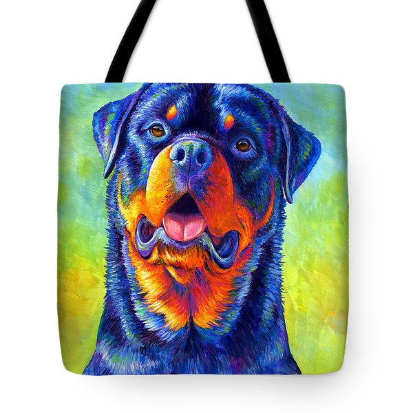 Gentle Guardian Colorful Rottweiler Dog Tote Bag