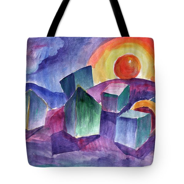 Tote Bag featuring the painting Geometric Landscape by Dobrotsvet Art