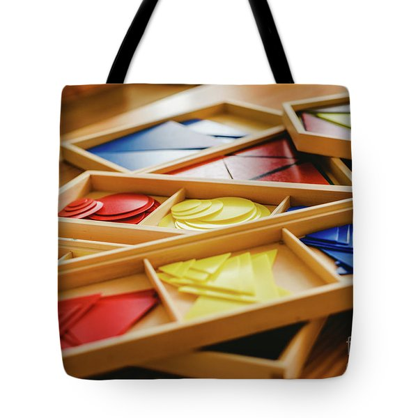 Geometric Material In Montessori Classroom For The Learning Of Children In Mathematics Area. Tote Bag
