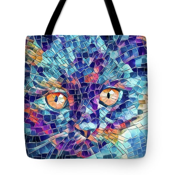 Tote Bag featuring the digital art Giant Head Mosaic Colorful by Don Northup