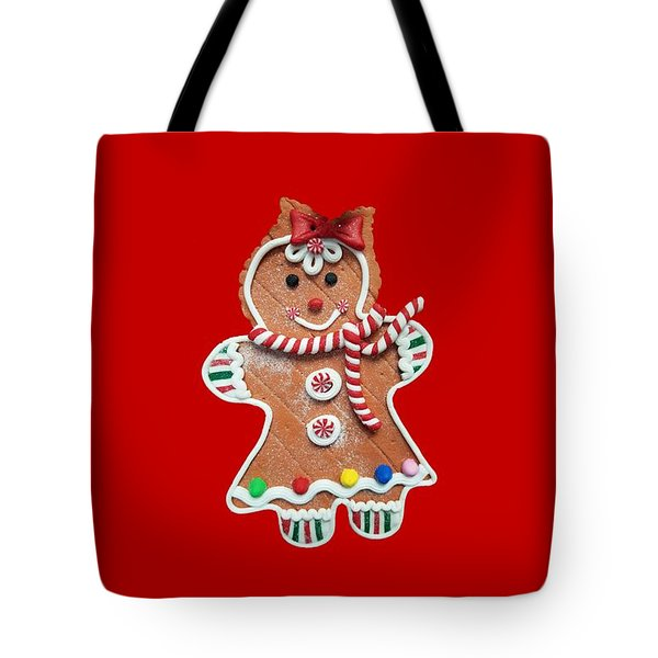 Tote Bag featuring the photograph Gingerbread Cookie Girl by Rachel Hannah