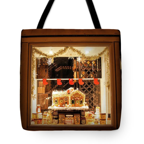 Tote Bag featuring the photograph Gingerbread Holiday Window by Kristia Adams
