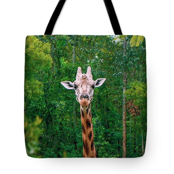 Giraffe Looking For Food During The Daytime. Tote Bag