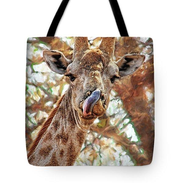 Giraffe Says Yum Tote Bag