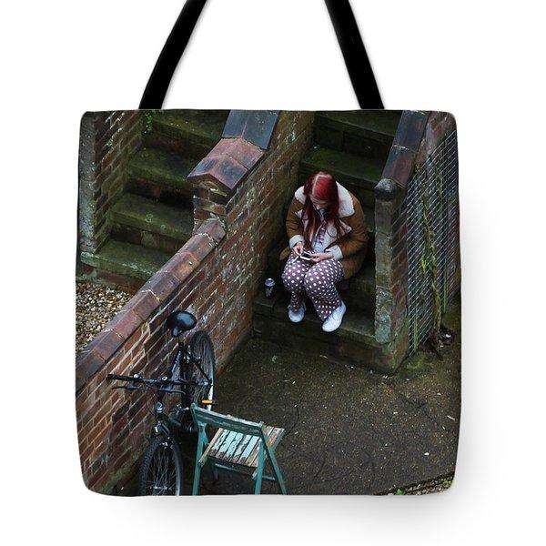 Girl On A Phone Tote Bag