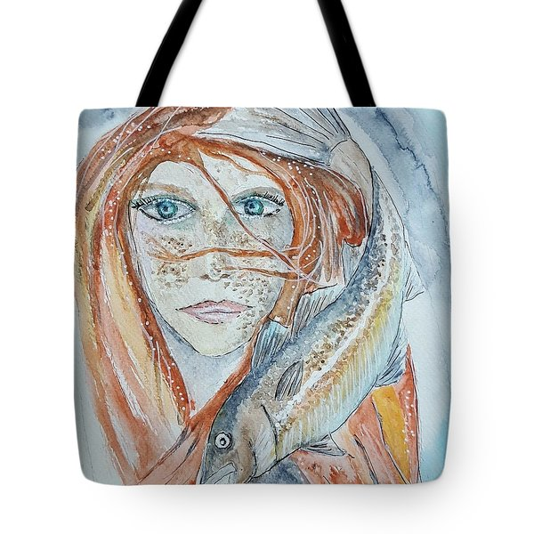 Girl With Cod Tote Bag