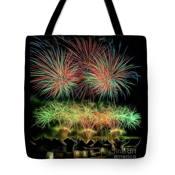 Tote Bag featuring the photograph Global Fest Light Show by Brad Allen Fine Art