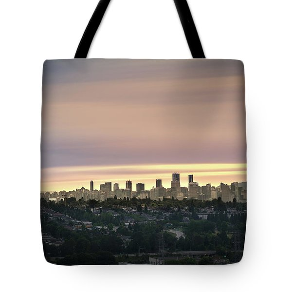 Golden Sky On Vancouver Tote Bag