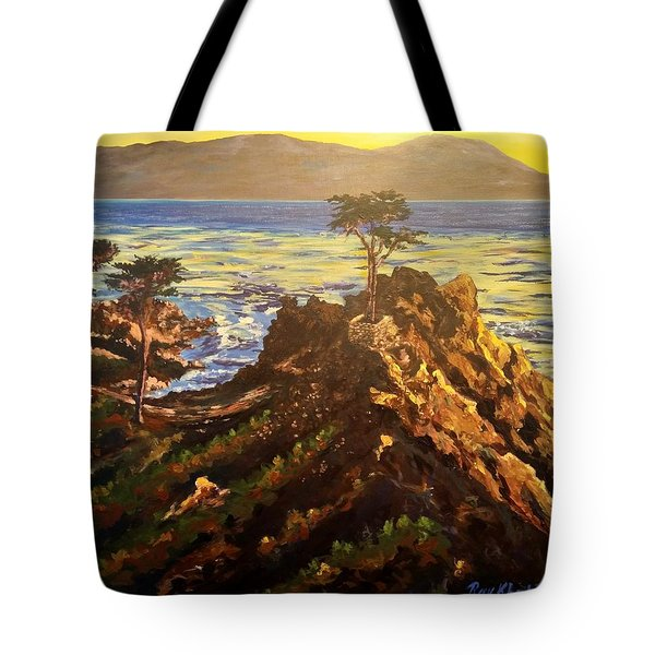 Tote Bag featuring the painting Glorious Sunset by Ray Khalife