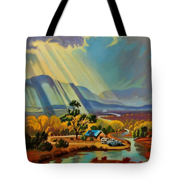 God Rays On A Blue Roof Tote Bag