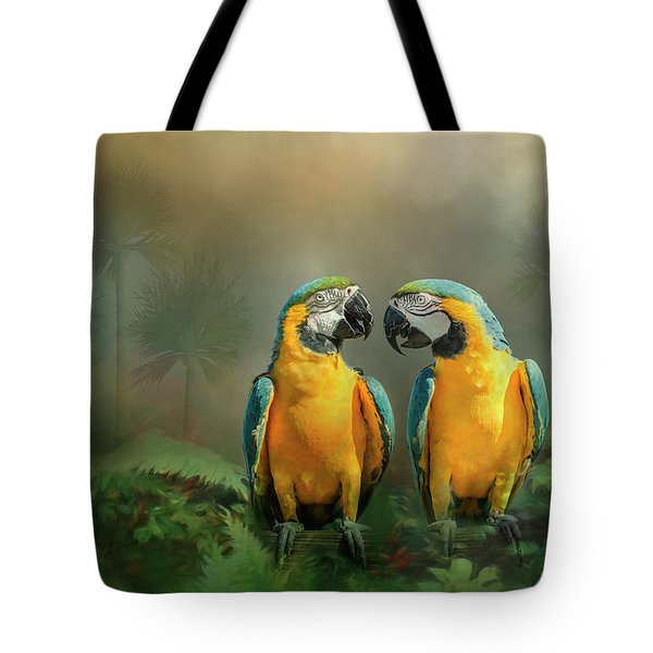 Gold And Blue Macaw Pair Tote Bag