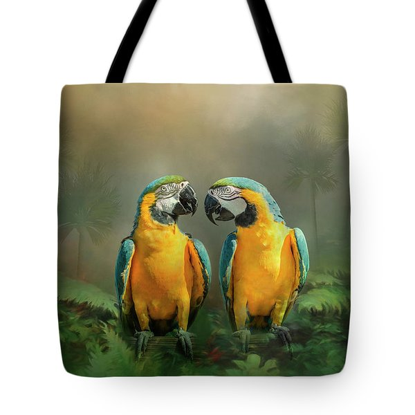 Tote Bag featuring the photograph Gold And Blue Macaw Pair by Patti Deters