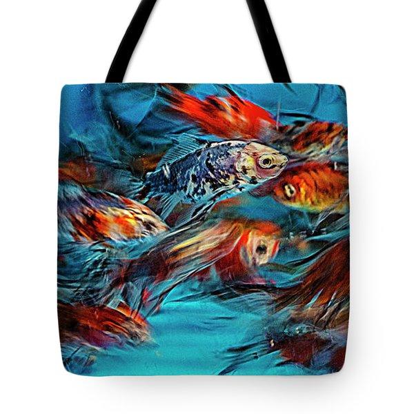 Gold Fish Abstract Tote Bag