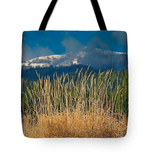 Gold Grass Snowy Peak Tote Bag