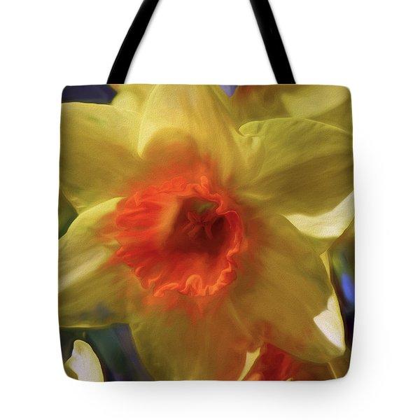 Tote Bag featuring the mixed media Golden Daffodil Brilliance by Lynda Lehmann