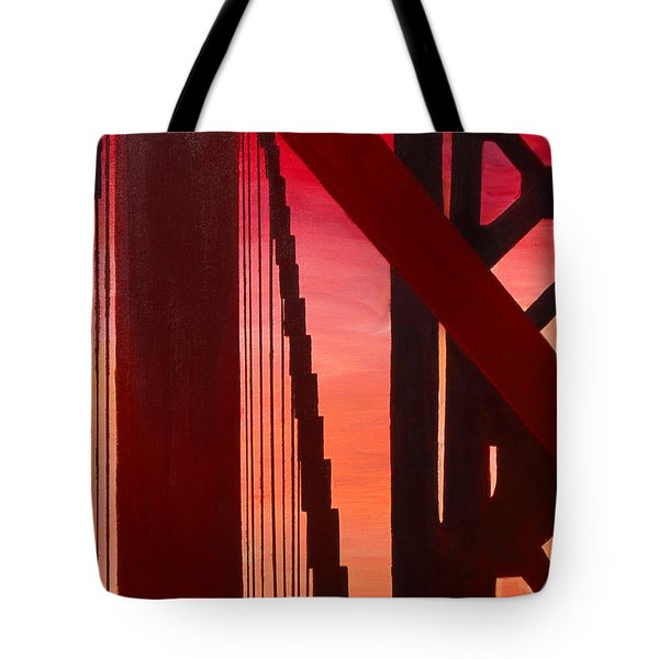 Tote Bag featuring the painting Golden Gate Art Deco Masterpiece by Rene Capone