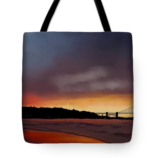 Tote Bag featuring the painting Golden Gate Sunset by Becky Herrera