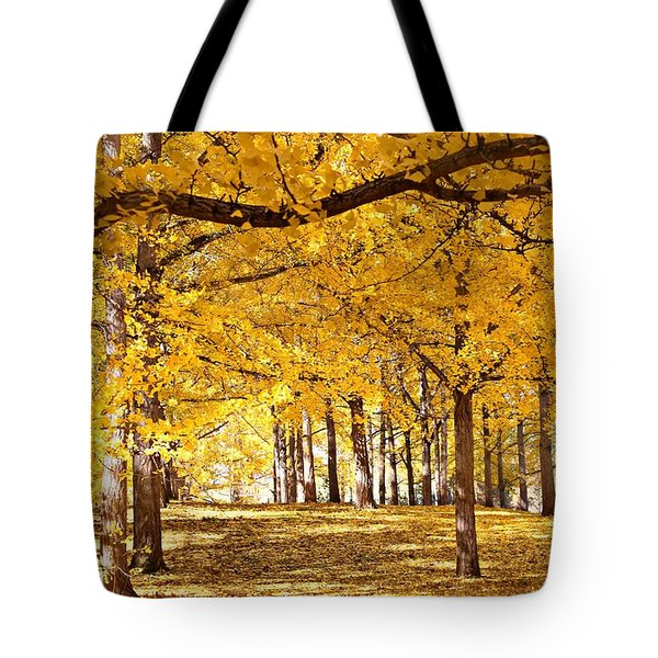 Tote Bag featuring the photograph Golden Ginkgo by Candice Trimble