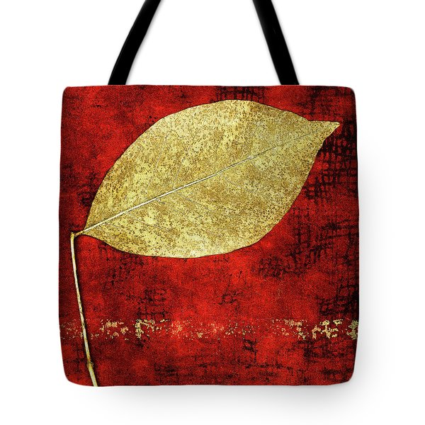 Golden Leaf On Bright Red Paper Square Tote Bag