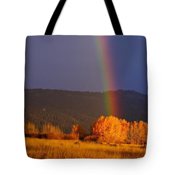 Golden Tree Rainbow Tote Bag