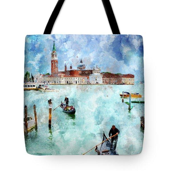 Gondola Rides And San Giorgio Di Maggiore In Venice Tote Bag