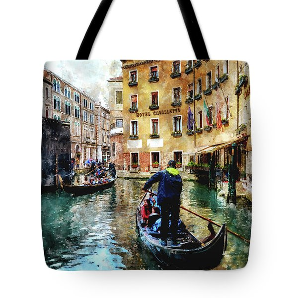 Gondola Traffic Near Piazza San Marco In Venice, Italy - Watercolor Effect Tote Bag