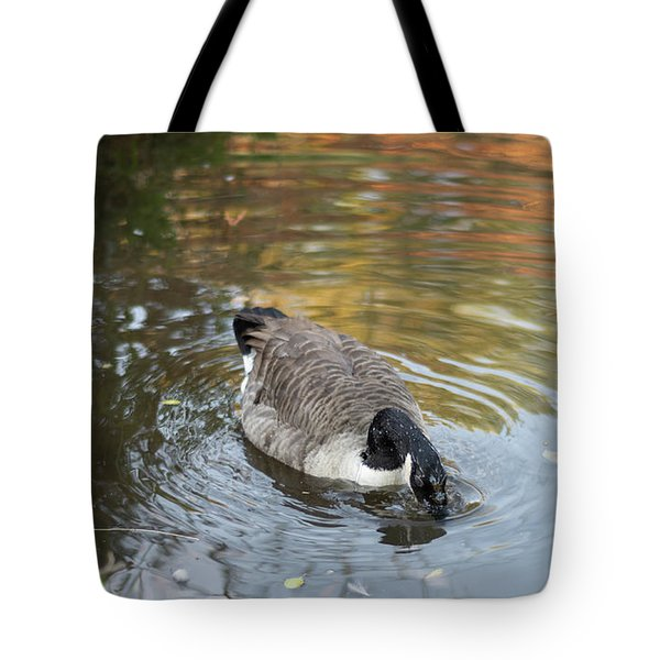 Tote Bag featuring the photograph Goose Head In Water by Scott Lyons