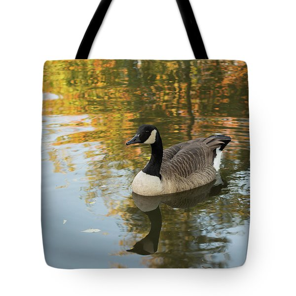 Tote Bag featuring the photograph Goose Reflecting In Water by Scott Lyons