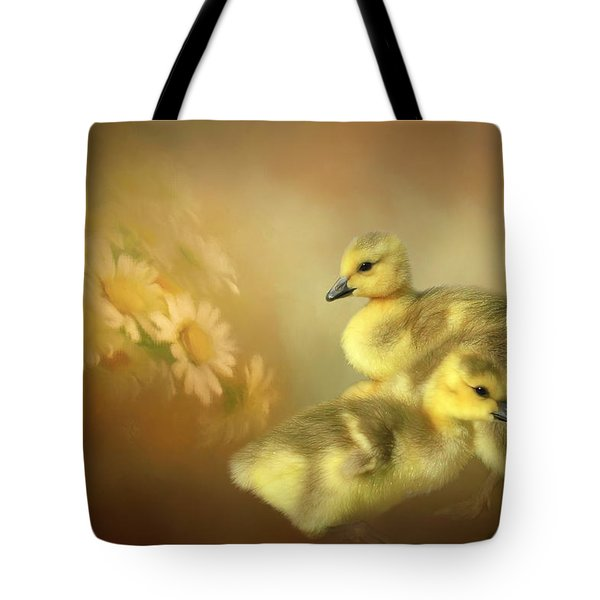 Goslings And Daisies Tote Bag