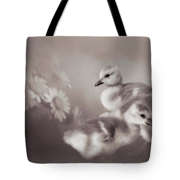 Goslings And Daisies - Sepia Tote Bag