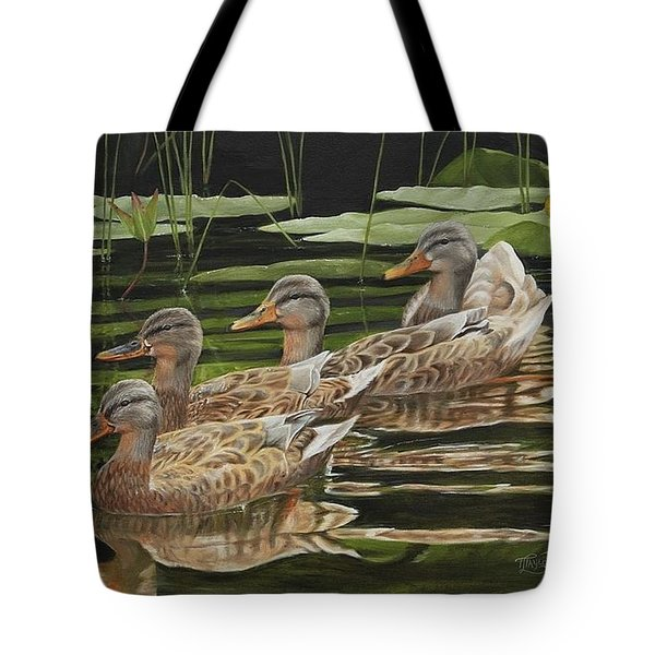 Tote Bag featuring the painting Got My Ducks In A Row by Tammy Taylor