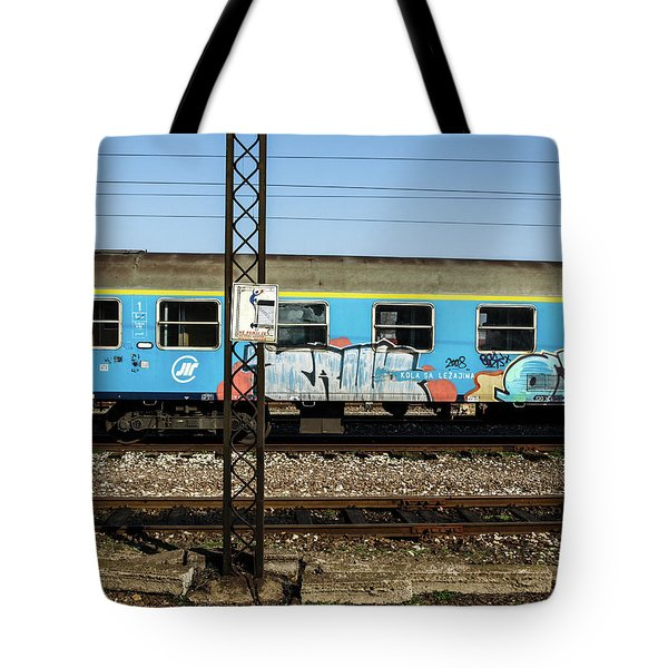 Graffitied Train Tote Bag