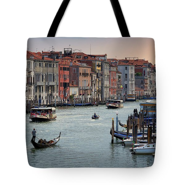 Grand Canal Gondolier Venice Italy Sunset Tote Bag