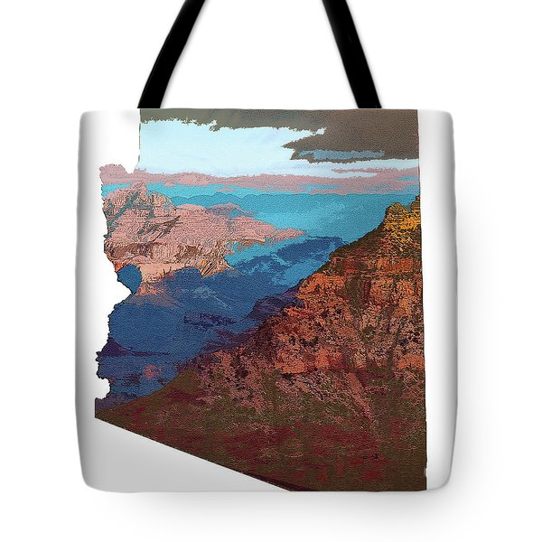 Grand Canyon In The Shape Of Arizona Tote Bag
