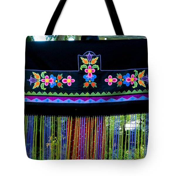 Tote Bag featuring the tapestry - textile Grand Mothers Garden by Chholing Taha