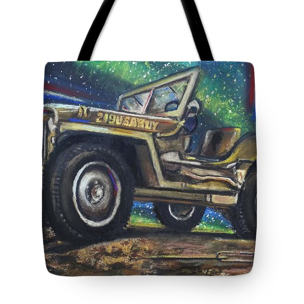 Tote Bag featuring the pastel Grandpa Willie's Willys Jeep by Eric Dee