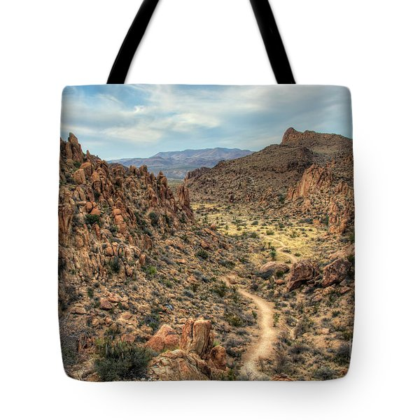 Tote Bag featuring the photograph Grapevine Mountain Trail by Joe Sparks