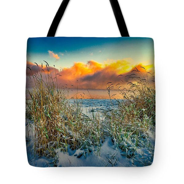 Grass And Snow Sunrise Tote Bag