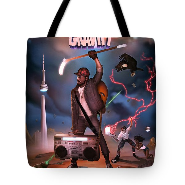 Tote Bag featuring the digital art Gravity Poster by Nelson Garcia
