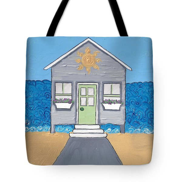Gray Cottage On The Beach Tote Bag