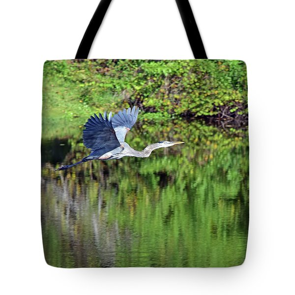 Great Blue Flees Across The Pond Tote Bag