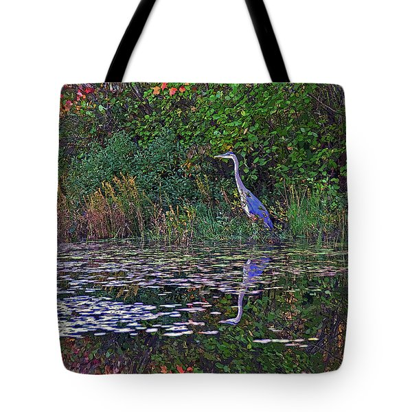 Tote Bag featuring the photograph Great Blue Heron In Autumn by Wayne Marshall Chase